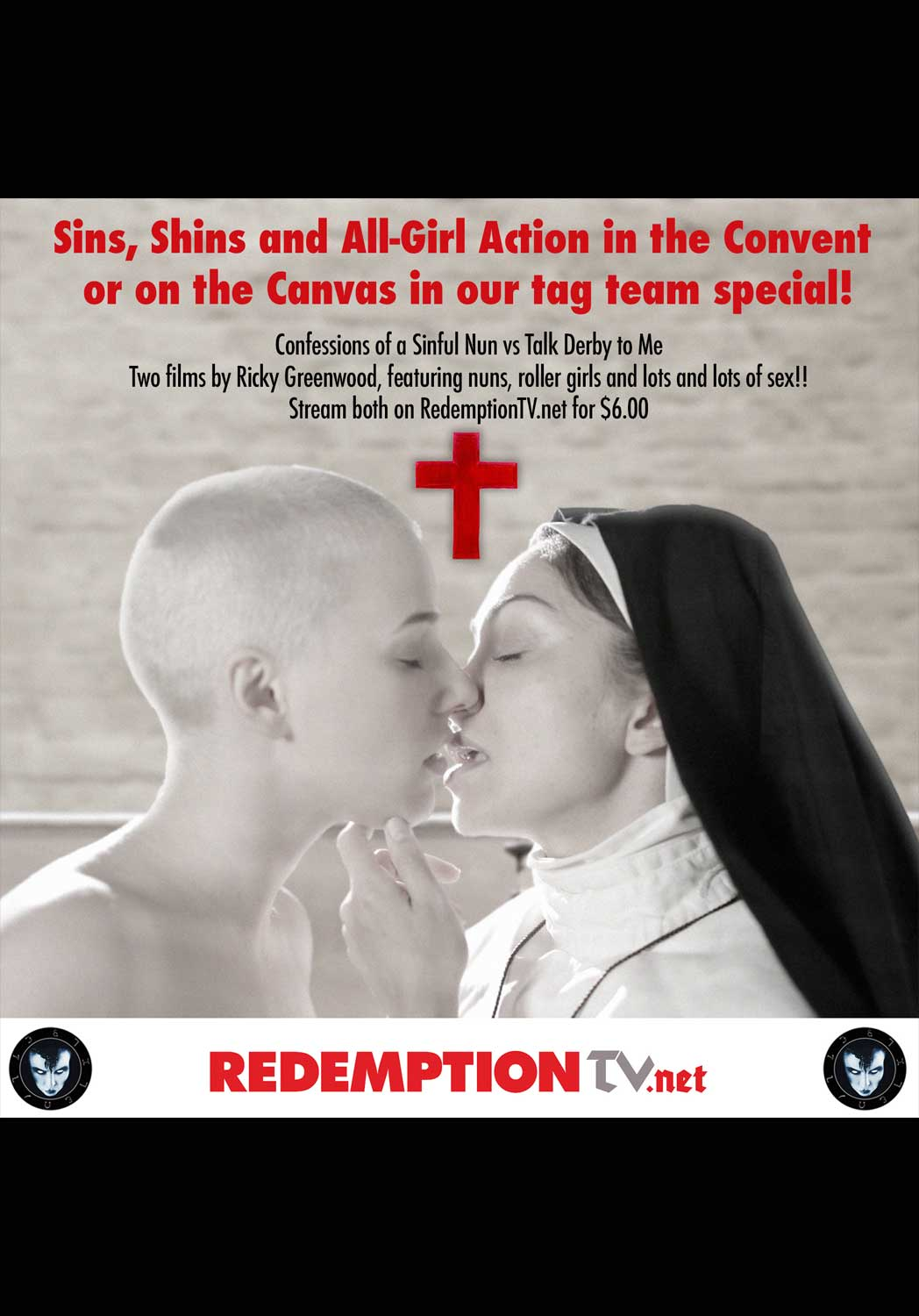 Stream two ricky greenwood films - sins and shins, with confessions of a sinful nun, and talk derby to me